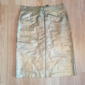 BCBG Gold Leather Skirt 10